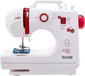 Maquina de Costura Mecânica Bella Elgin Branco / Rosa