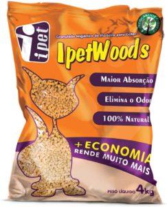 Granulado Higiênico De Madeira Ipet Wood's P: Gatos 4kg