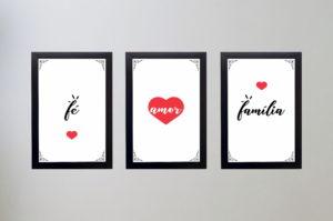 Kit 3 quadros Decorativos Frases Fé Amor e Família