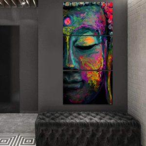 Quadro Decorativo 3 Telas Budismo Vertical Buda Colorido