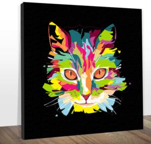 Quadro Decorativo Canvas Gato Colors