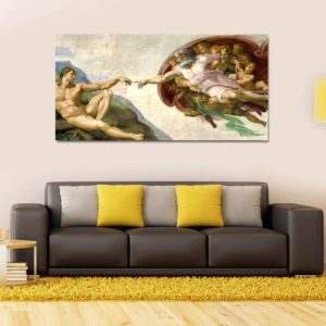 Quadro Decorativo Panorâmico Michelangelo Criação de Adão